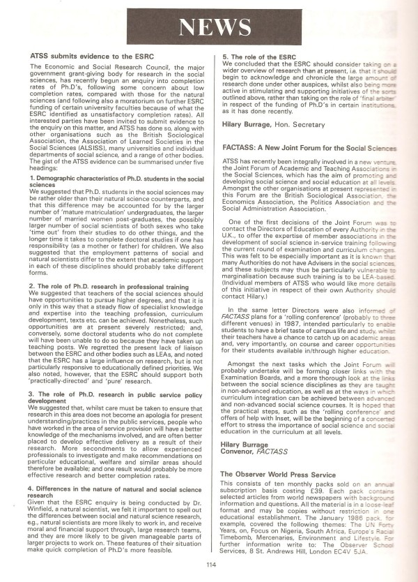 HB 1986 SST Vol15 No3 FACTASS & ESRC reports