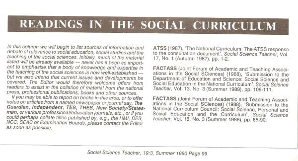 HB 1990 SST Vol19 No3 FACTASS Readings in the social curriculum