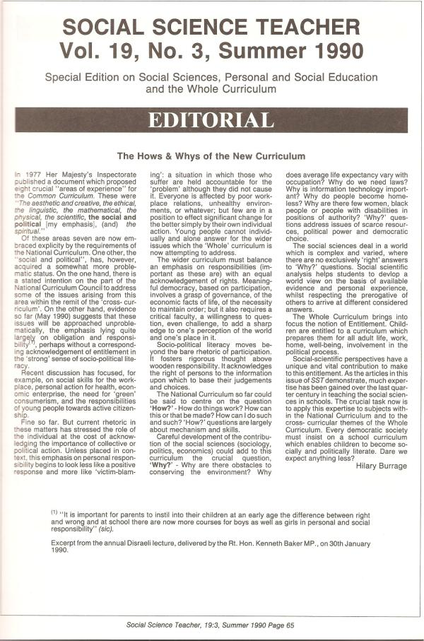 HB 1990 SST Vol19 No3 Editorial The hows and whys of the new curriculum