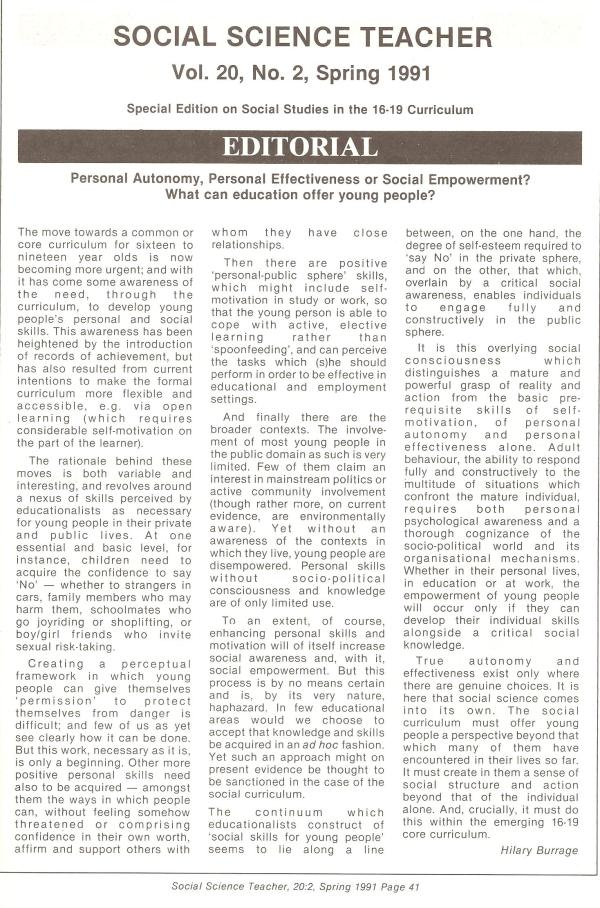 HB 1991 SST Vol20 No2 Editorial Personal autonomy personal effectiveness or social empowerment. What can education offer young people