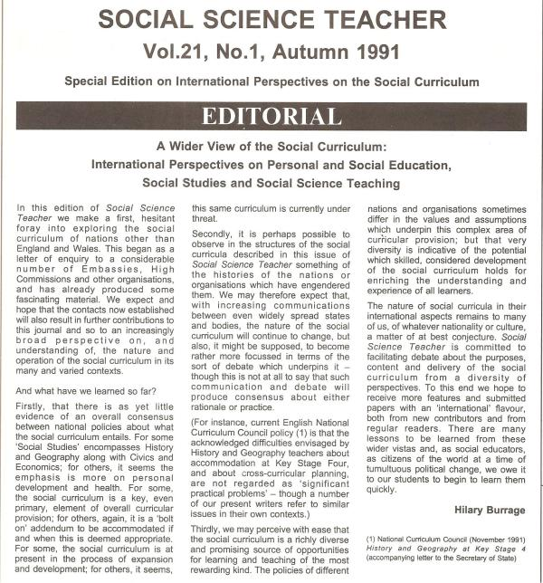 HB 1991 SST Vol21 No1 Editorial A wider view of the social curriculum